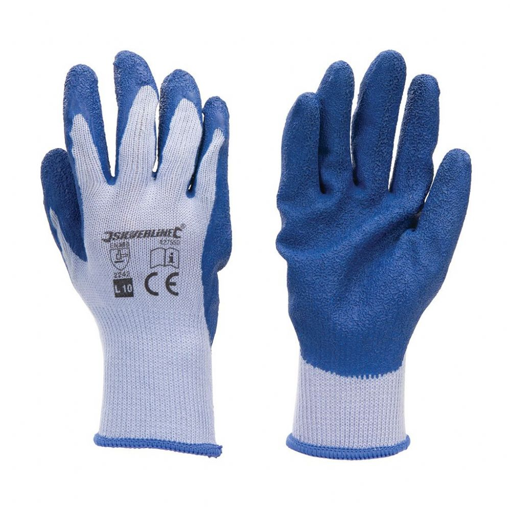 Latex Coated Builders Gloves - Large